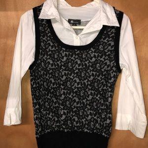 Women's buttoned blouse w/attached vest